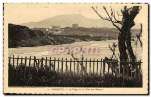 Biarritz - The Beach of the Cote Basque - Old Postcard
