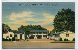 Motel Las Vegas Fremont Street Las Vegas Nevada linen postcard