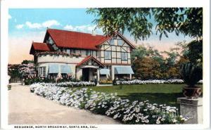SANTA ANA, CA California    MANSION on North BROADWAY  c1920s  Postcard