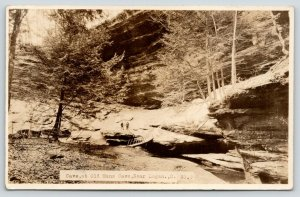Logan Ohio~Two Men Stand on Rock by Footbridge~Cave @ Old Mans Cave~1930s RPPC
