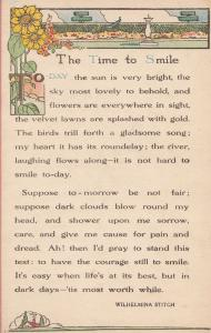 Wilhelmina Stitch Time To Smile Colour Of Flowers Birds Proverb Songcard Post...