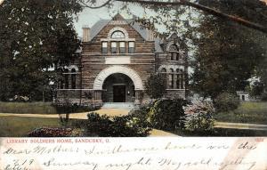 Sandusky Ohio~Soldiers Home Library~Stone Arch Doors & Windows~1908 Postcard