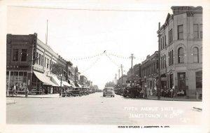 LPS63 Jamestown North Dakota Fifth Avenue South Town View Postcard RPPC
