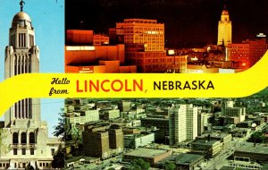 Nebraska Greetings From Lincoln Showing Skyline and State Capitol