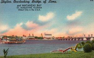 Florida St Augustine Skyline Overlooking Bridge Of Luions and Matanzas Bay