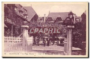 Deauville Old Postcard The flowery beach Court of Normandy Hotel