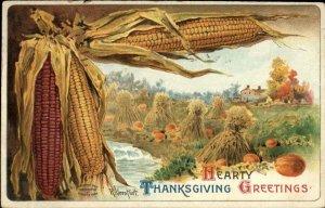 Thanksgiving - Pumpkin Field Corn Border Veenfliet c1910 Postcard