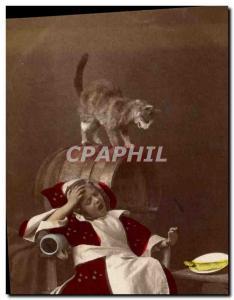 Old Postcard Cats Cat Kitten Children