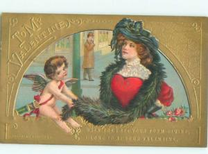 Pre-Linen Valentine PRETTY GIRL WITH FUR SCARF AND CUPID AB2728