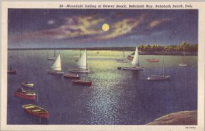 REHOBOTH - MOONLIGHT SAILING - View of small boats in Rehoboth Bay,  1940s