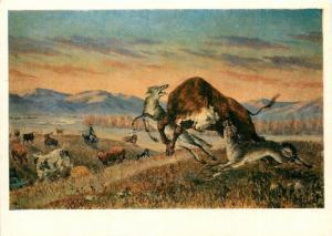 Postcard 1972 art Ochiryn Tsevegzhav wolves attacking a herd