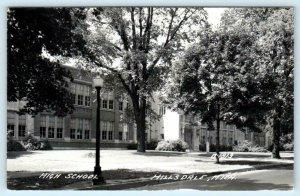 RPPC  HILLSDALE, Michigan MI ~ HIGH SCHOOL ca 1940s Real Photo Postcard