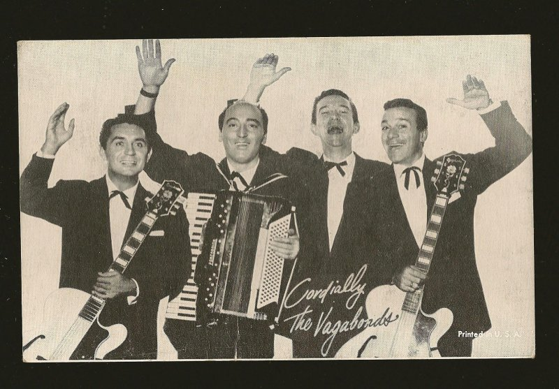 Vintage Cordially The Vagabonds Printed in USA Black & White Card Blank Back