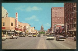 Congress Avenue street view old cars Austin Texas tx old chrome Postcard #9