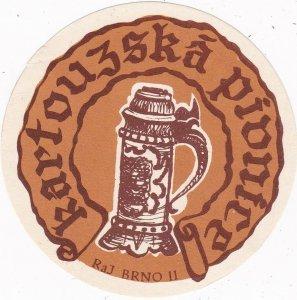 Czechoslovakia Brno Kartouzska Pionice Vintage Luggage Label sk4457
