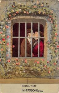 Doing Time in Hudson Iowa~Couple Behind Bars~Rose Trellis~1912 Postcard