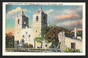 Outside View Mission Conception Built 1713 San Antonio Texas Unused c1920s