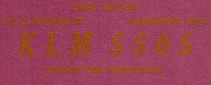 Vintage QSL Postcard  KLM 5505  Lancaster, Ohio  Fred Miller  -T-