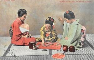 Life in Japan Geisha Girls Playing Flower Cards Hanafuda (Edward VII Stamp) 1904