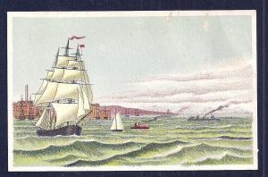VICTORIAN TRADE CARD Sailing Ship & Boats