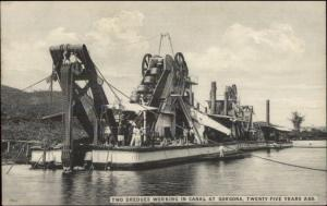 Dredges Working Gorgona Panama Canal c1910 Postcard GREAT CARD