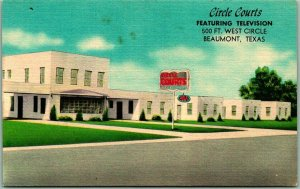 Beaumont, Texas Postcard CIRCLE COURTS MOTEL Featuring Television Linen c1950s