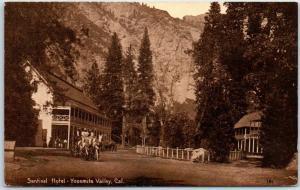 1910s YOSEMITE Calif. Postcard SENTINEL HOTEL Stage Coach Mitchell SEPIA Unused