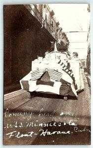 VTG Postcard RPPC Real Photo Parade Float Havana Cuba USS Minnesota USA Flag A7