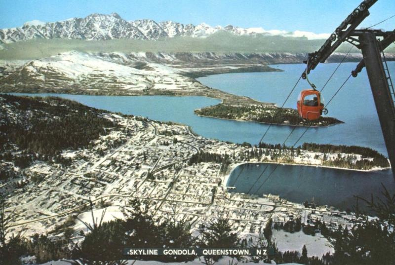 Skyline Gondola Queenstown New Zealand NZ Red Birdseye Unused Postcard D28