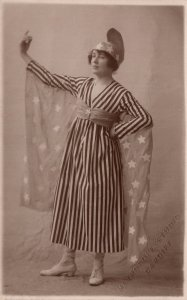Stars & Stripes American Wonder Woman Ladies Dress Costume Antique Postcard