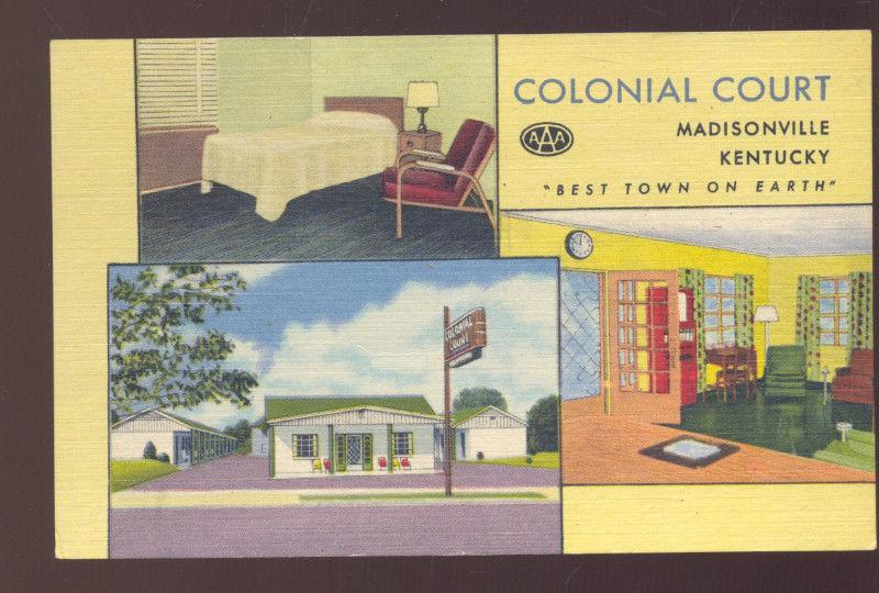 MADISONVILLE KENTUCKY COLONIAL COURT LINEN MOTEL INTERIOR VINTAGE POSTCARD