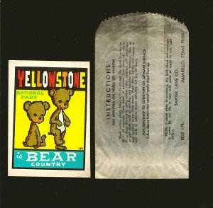 Vintage Yellowstone National Park is Bear Country Window Sticker Unused