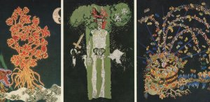 Jean Lurcat Tapestry Skeleton 3x Painting Postcard s