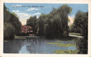 Memphis Tennessee~Forest Park~Lily Pond~Weeping Willow Tree~1920s Postcard