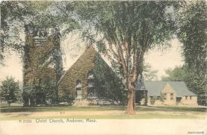 Andover Massachusetts~Christ Church~House~Ivy Covered~1905 Handcolored Rotograph