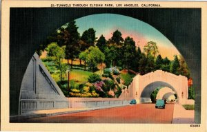 Tunnels Through Elysian Park Los Angeles CA c1942 Vintage Linen Postcard A25