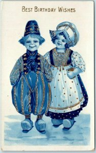 1910s Barton & Spooner Greetings Postcard Dutch Boy Girl BEST BIRTHDAY WISHES