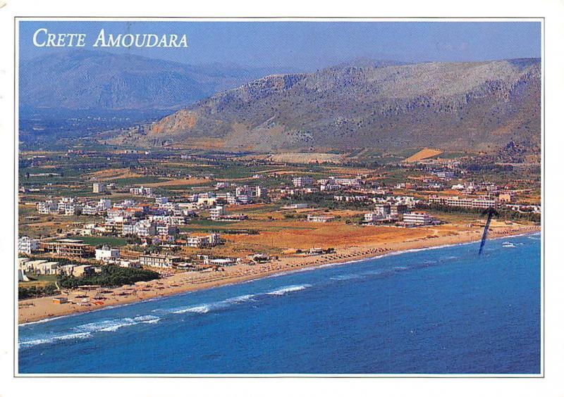 Carte Crete Amoudara.Greece Crete Amoudara General View Panorama Beach Strand