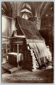 London UK Westminster Abbey~Covered St Edwards Shrine & Altar~WWI~RPPC c1916