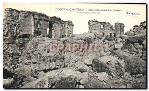 Old Postcard Couchy the ruins of Chateau Appearance of Chateau ramparts