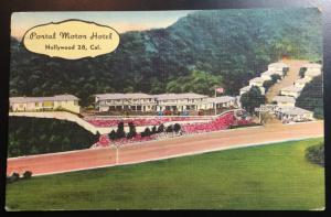 Used Linen Postcard Portal Motor Hotel Hollywood CA LB