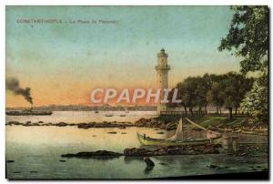 Old Postcard Constantinople Lighthouse Fanaraki From Turkey