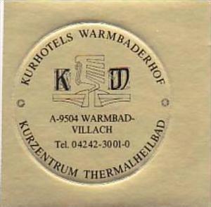AUSTRIA VILLACH KURHOTELS WARMBADERHOF VINTAGE LUGGAGE LABEL