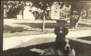 Little Boy & St. Bernard Dog c1910 Real Photo Postcard