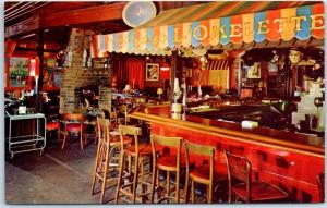 Palo Alto CA Postcard Andre's L'OMELETTE French Restaurant Interior View w/ Bar