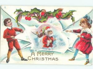 Pre-Linen Christmas KIDS TEAR PAPER TO REVEAL SANTA CLAUS AB4580