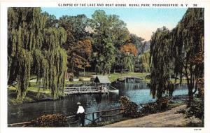 Poughkeepsie New York~Rural Park Lake & Boat House~Man w Hat~Dutchess County~20s