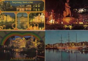 Amsterdam Holland Night Illuminations 4x Postcard s