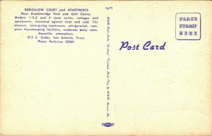 Vtg Linen Postcard San Antonio Texas TX Bungalow Court 815 East Ashby Unused