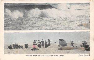 Bathing Scene Surf Salisbury Beach Massachusetts 1910c postcard